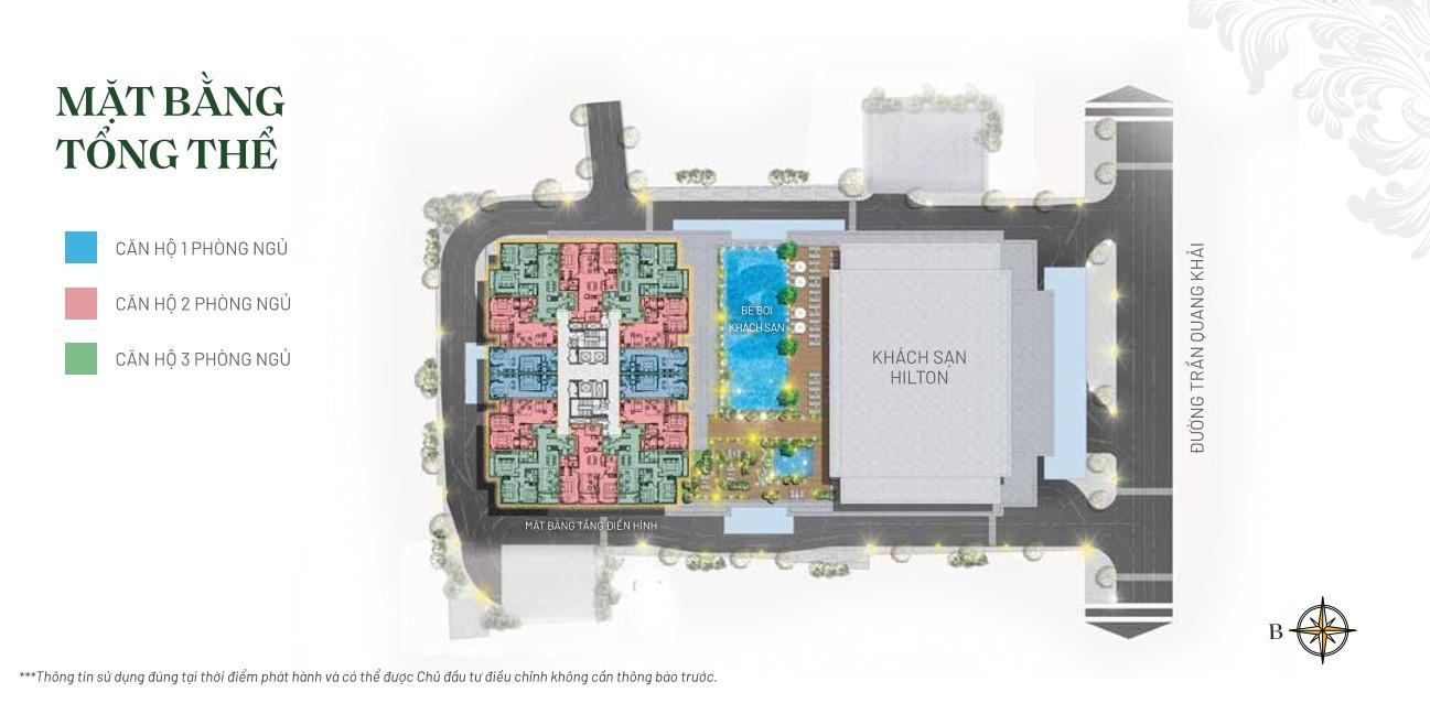 Mặt bằng toà khách sạn hilton và căn hộ Chung cư The Legend Hải Phòng