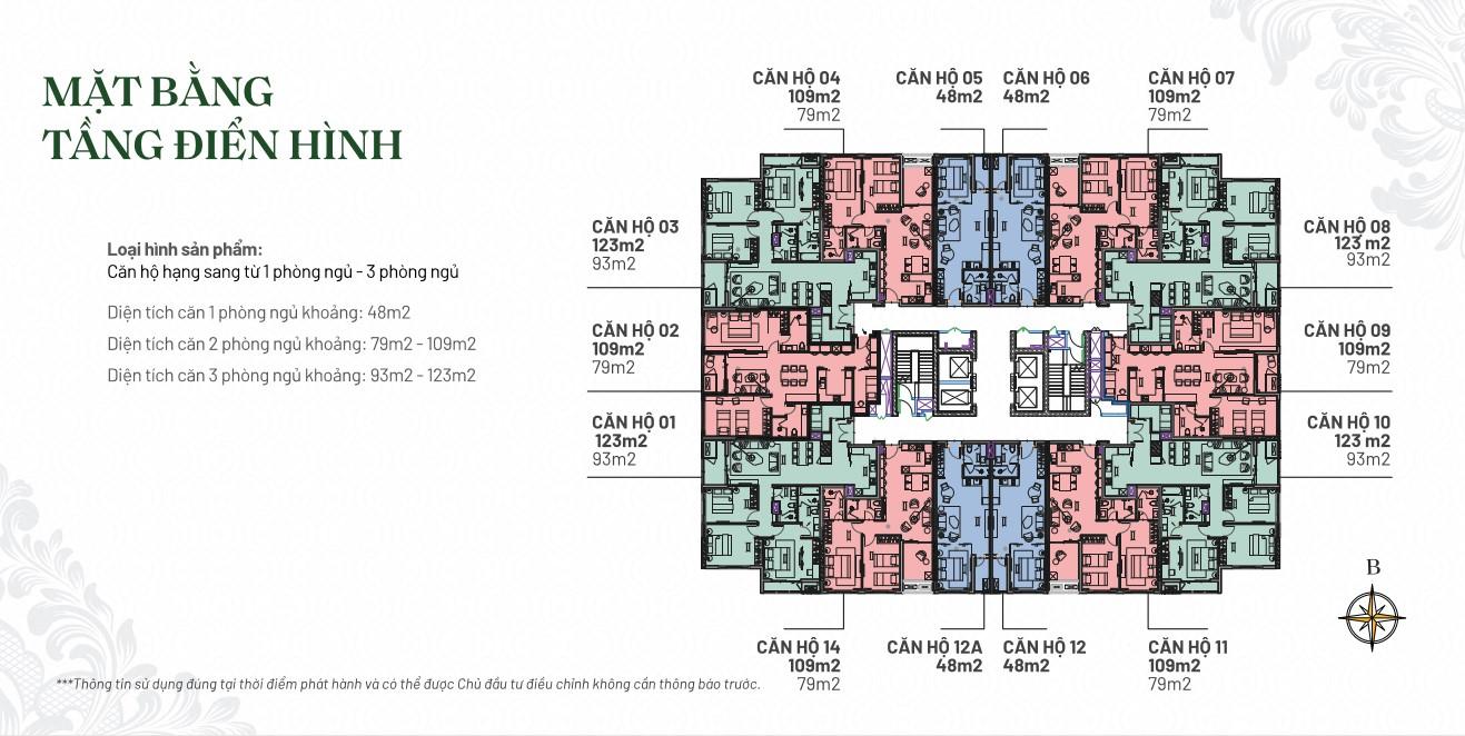 mặt bằng tầng điển hình các loại hình căn hộ tại dự án hilton hải phòng - toà the legend hải phòng