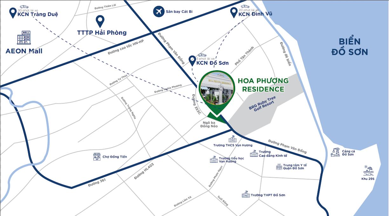 Vị trí dự án Hoa Phượng Residence Đồ Sơn Hải Phòng