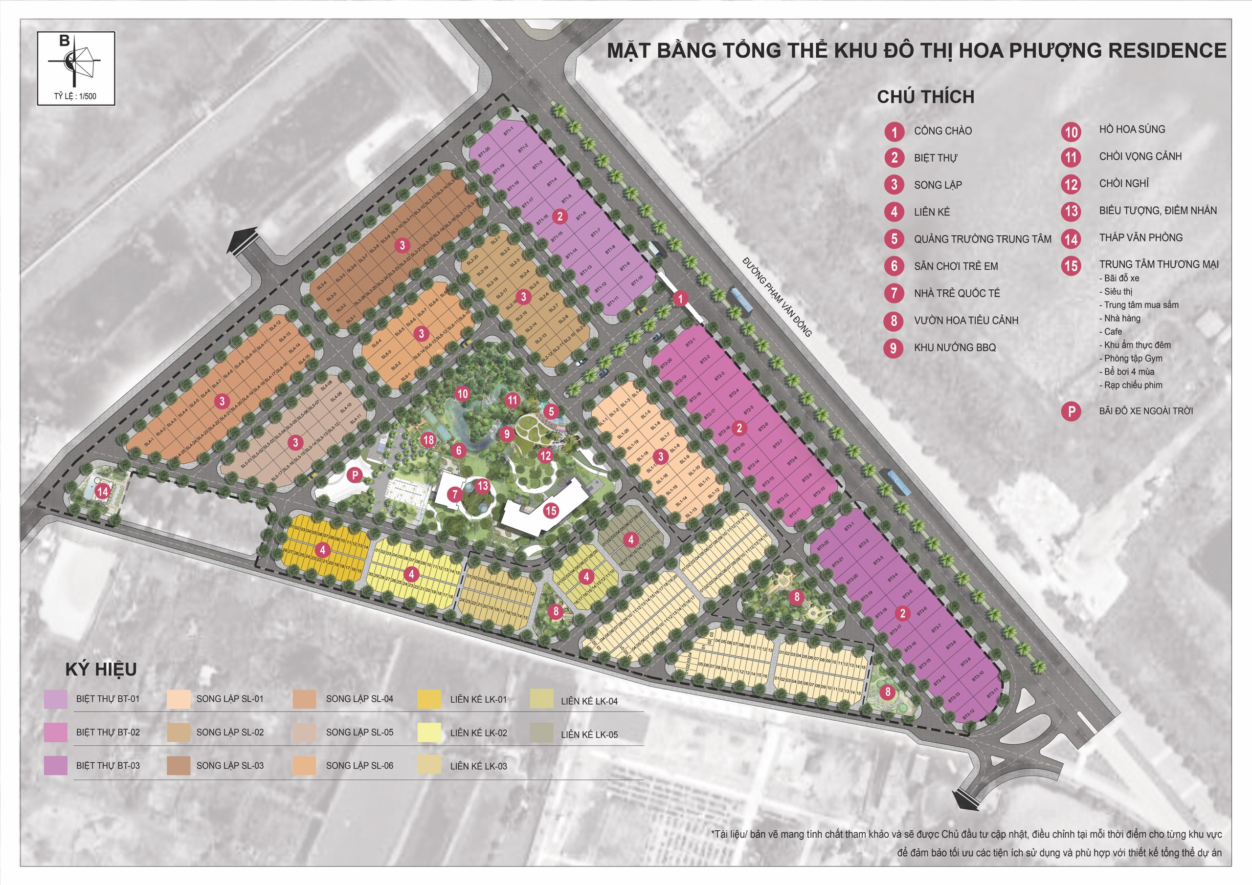 Mặt bằng tổng quan dự án Hoa Phượng Residence Đồ Sơn HP